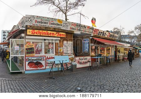 DUESSELDORF, GERMANY - JANUARY 05, 2017: High resolution, hyperrealistic view on the stationary market on the Carlsplatz near the famous Altstadt.