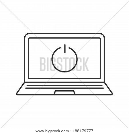 Turn off laptop linear icon. Thin line illustration. Smart phone with shut down button contour symbol. Vector isolated outline drawing
