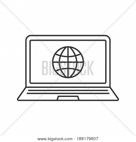 Laptop network connection linear icon. Thin line illustration. Notebook with globe model contour symbol. Vector isolated outline drawing