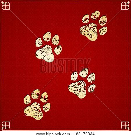 Year of the dog. Golden traces in grunge style on a red background with a pattern. Chinese New Year. Cover for the project. Vector illustration