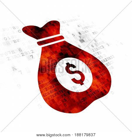Business concept: Pixelated red Money Bag icon on Digital background