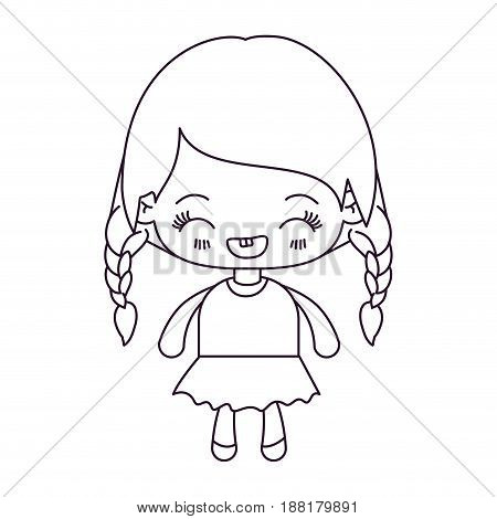 monochrome silhouette of kawaii little girl with braided hair and facial expression laughing vector illustration