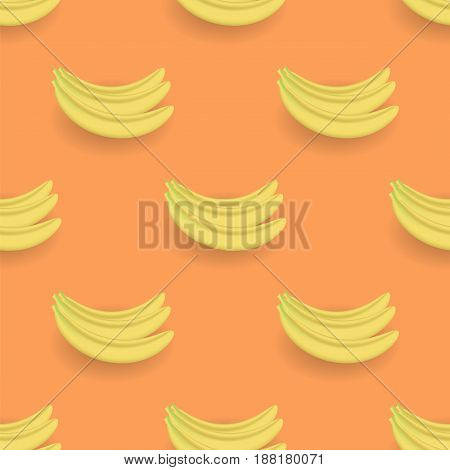 Fresh Yellow Bananes Seamless Pattern on Orange Background