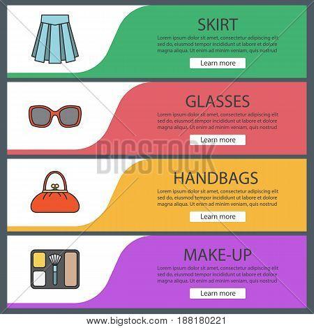 Women's accessories banner templates set. Skirt, sunglasses, handbag, blusher. Website menu items. Color web banner. Vector headers design concepts