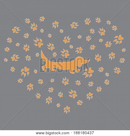 Nice Picture Of Dachshund Silhouette On A Background Of Dog Tracks In The Form Of Heart.