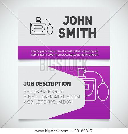 Business card print template with perfume logo. Women's perfumery shop. Stationery design concept. Vector illustration