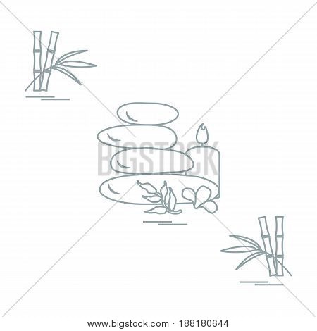 Stylized Icon Of Massage Stones For Spa Procedures, Leaves, Flower, Candle And Bamboo. Spa And Beaut