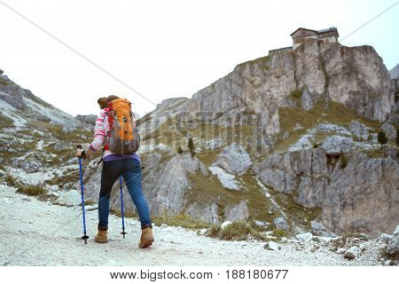 Girl Hiker At The Mountains Dolomites