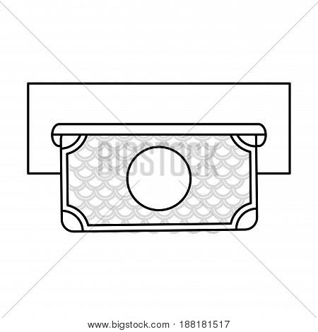 line electronic cashier bank with bill cash money, vector illustration