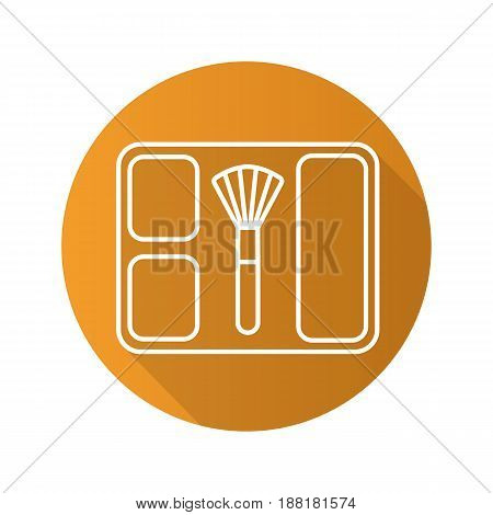 Blusher flat linear long shadow icon. Blusher box with brush. Vector line symbol