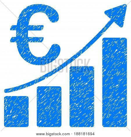 Grunge Euro Bar Chart icon with grunge design and unclean texture. Unclean vector blue pictogram for rubber seal stamp imitations and watermarks. Draft sign symbol.