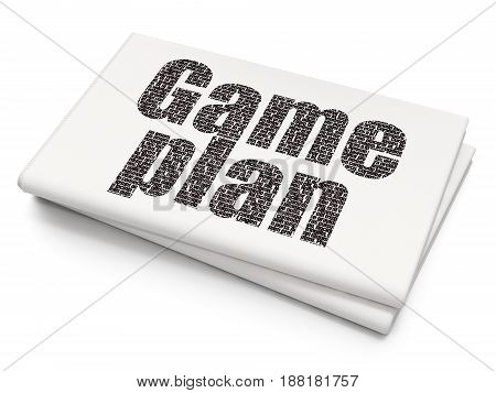 Finance concept: Pixelated black text Game Plan on Blank Newspaper background, 3D rendering