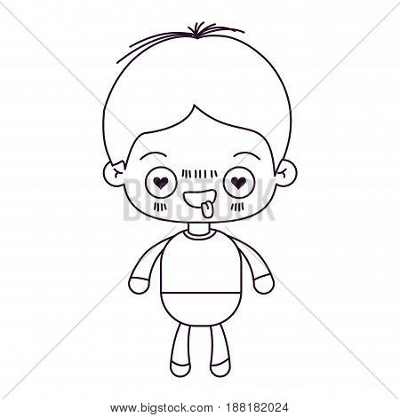 monochrome silhouette of kawaii little boy with facial expression in love vector illustration