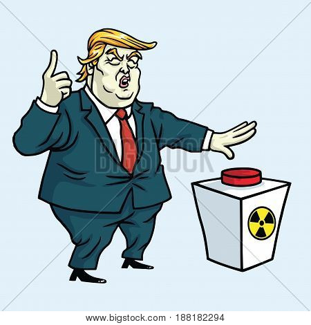 Donald Trump Cartoon Pushing Button. Vector Illustration. May 28, 2017