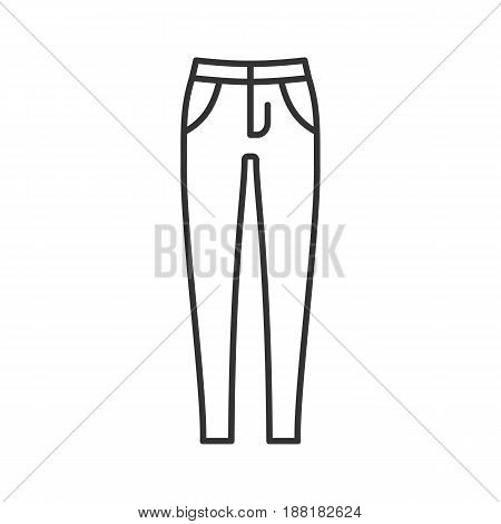 Women's skinny jeans linear icon. Thin line illustration. Trousers contour symbol. Vector isolated outline drawing