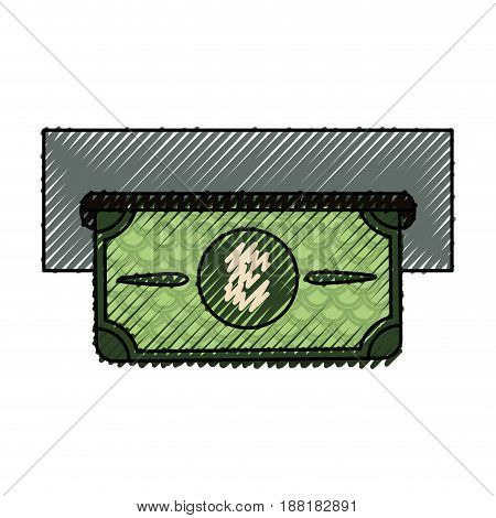 electronic cashier bank with bill cash money, vector illustration