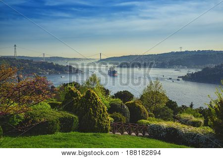 beautiful view of the Bosphorus the Bosphorus Bridge which connects Asian and European sides of Istanbul taken from Otagtepe park Beykoz