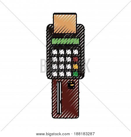 electronic cashier bank with credit card, vector illustration