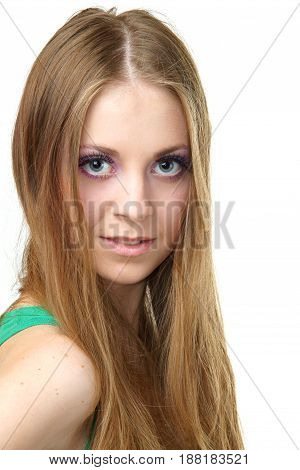 pretty woman, female or girl with healthy skin looking at you