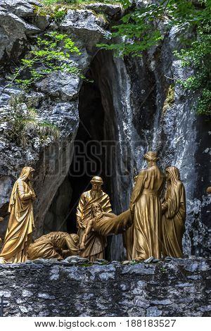 Cross roads in Lourdes France. Sculpture compositions