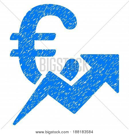 Grunge Euro Growth icon with grunge design and dirty texture. Unclean vector blue pictogram for rubber seal stamp imitations and watermarks. Draft sign symbol.