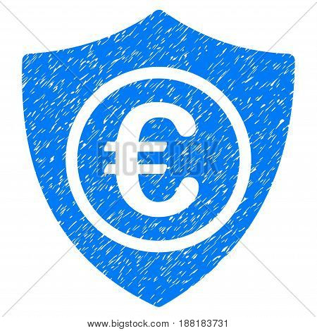 Grunge Euro Protection icon with grunge design and dust texture. Unclean vector blue pictogram for rubber seal stamp imitations and watermarks. Draft sign symbol.