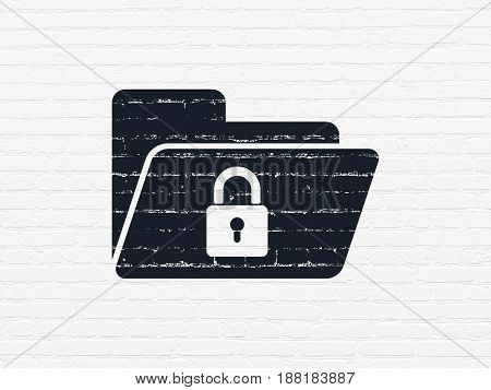 Business concept: Painted black Folder With Lock icon on White Brick wall background