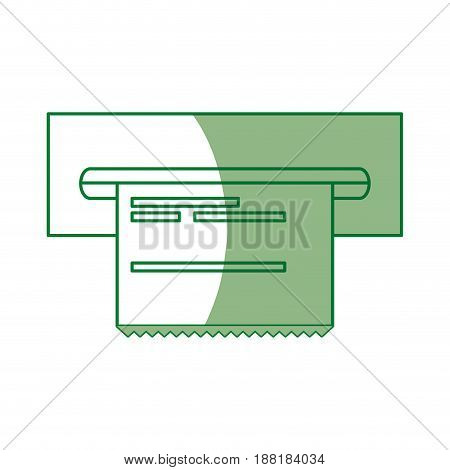 silhouette electronic cashier bank with receipt, vector illustration design