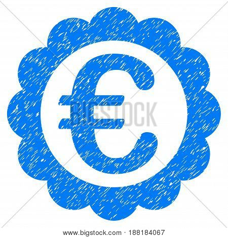 Grunge Euro Quality Stamp icon with grunge design and unclean texture. Unclean vector blue pictogram for rubber seal stamp imitations and watermarks. Draft sticker symbol.