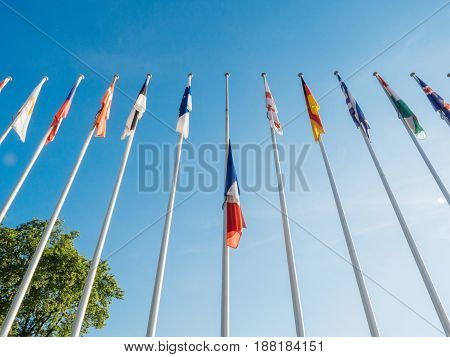 French France National Flag fly half-mast Council of Europe building memory of victims terrorist explosion Manchester Arena
