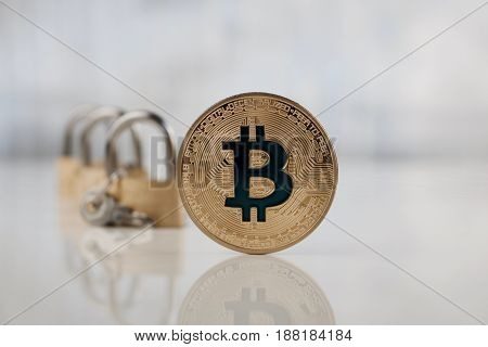 Gold Bitcoin And Padlocks