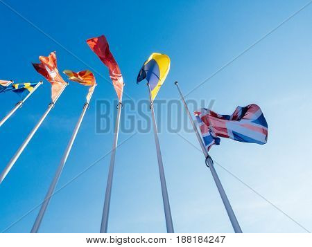 United Kingdom flags fly half-mast Council of Europe building memory of victims terrorist explosion Manchester Arena Ariana Grande concert