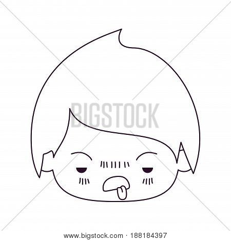 monochrome silhouette of kawaii head of little boy with unpleasant facial expression in closeup vector illustration
