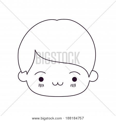 monochrome silhouette of kawaii head of little boy with facial expression exhausted vector illustration