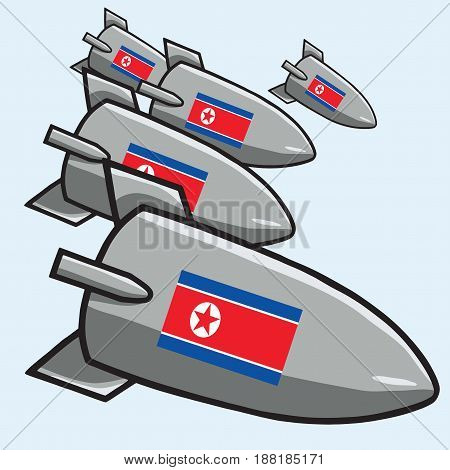 Atomic Nuclear Bombs with North Korean Flag