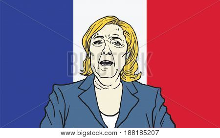 Marine Le Pen Cartoon on France Flag Background. Vector Illustration. May 27, 2017