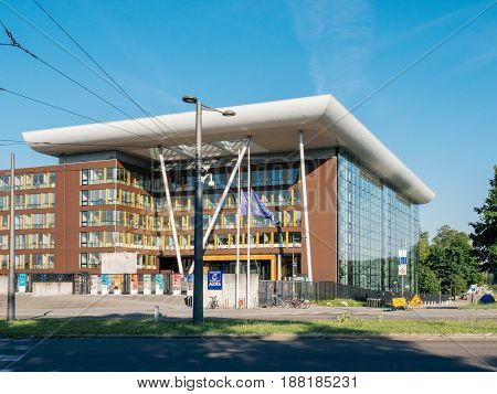 STRASBOURG FRANCE - MAY 26 2017: European Union fly half-mast Council of Europe Agora building memory of victims terrorist explosion Manchester Arena