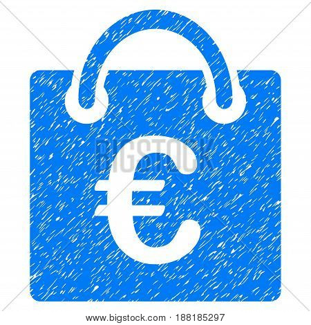 Grunge Euro Shopping Bag icon with grunge design and dust texture. Unclean vector blue pictogram for rubber seal stamp imitations and watermarks. Draft emblem symbol.
