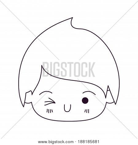 monochrome silhouette of kawaii head of little boy winking eye vector illustration