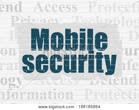 Safety concept: Painted blue text Mobile Security on White Brick wall background with  Tag Cloud