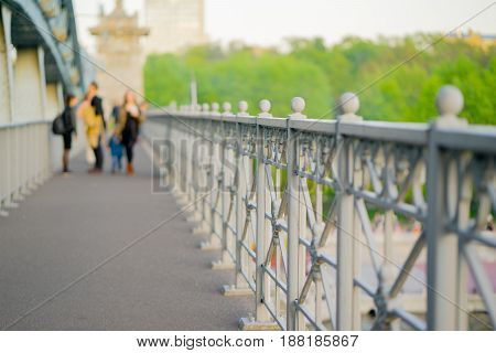Andreyevsky bridge in Moscow, summer. close up.