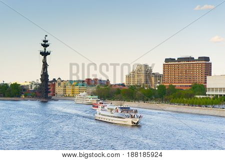 Moscow, Russia, 18 may 2017: passenger ship sails the river Moscow.