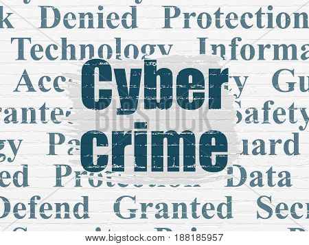 Protection concept: Painted blue text Cyber Crime on White Brick wall background with  Tag Cloud