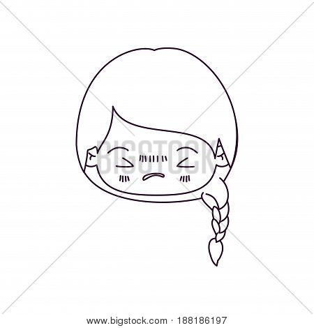 monochrome silhouette of kawaii head little girl with braided hair and facial expression angry with closed eyes vector illustration