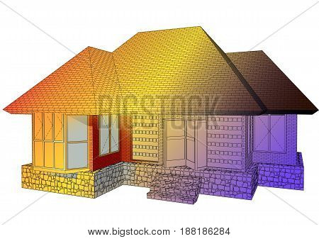 architecture abstract. multicolor house isolated on white