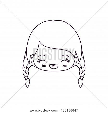 monochrome silhouette of kawaii head little girl with braided hair and facial expression laughing vector illustration