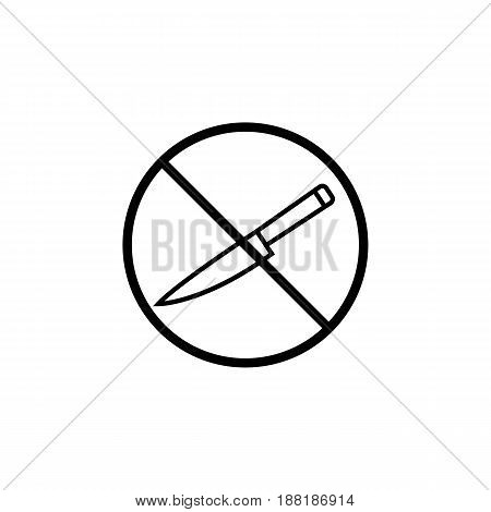 No sharp object line icon, prohibition sign, forbidden no knife, vector graphics, a linear pattern on a white background, eps 10.