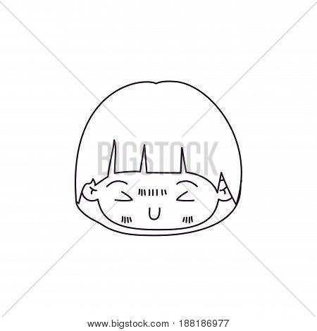 monochrome silhouette of kawaii head of little boy with mushroom hairstyle and facial expression furious vector illustration