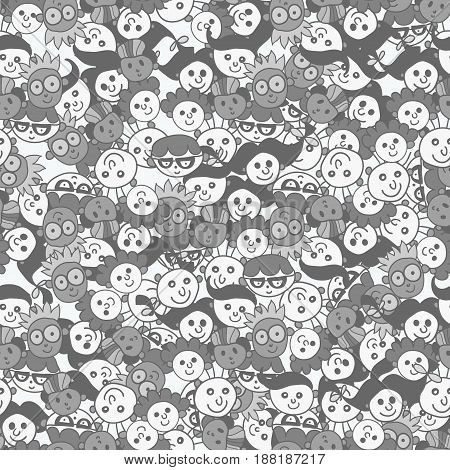 Seamless pattern with cute faces of children backgrounds - in black and white