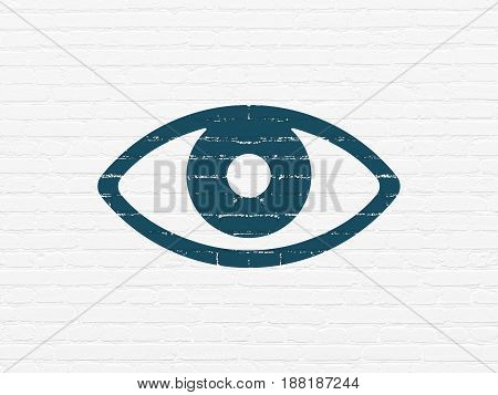 Privacy concept: Painted blue Eye icon on White Brick wall background